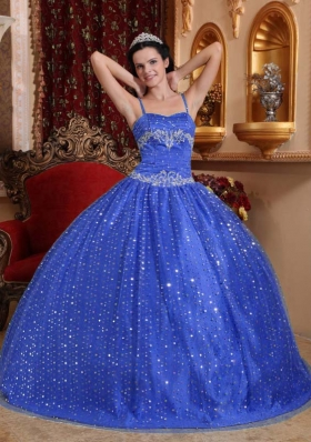 2014 Puffy Spaghetti Straps with Sequined Quinceanera Dresses
