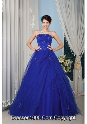 2014 Quinceanera Dress in Blue Princess Strapless with Beading