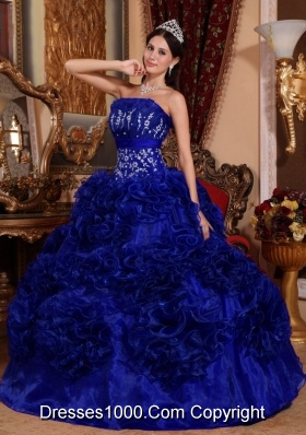 2014 Royal Blue Puffy Strapless with Appliques Quinceanera Dress