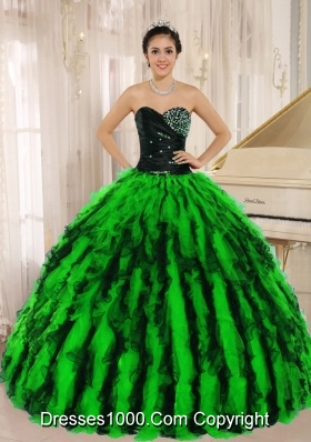 2014 Spring Beaded and Ruffled Sweetheart For Pretty Quinceanera Dresses
