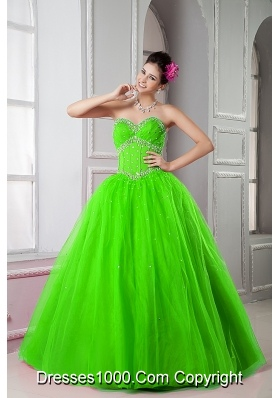 2014 Spring Green Sweetheart Quinceanera Dresses with Beading