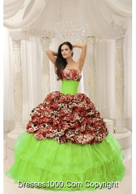 2014 Spring Strapless Leopard Quinceanera Gowns With Beading