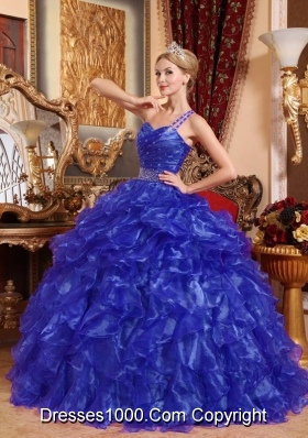 Affordable Blue Puffy One Shoulder 2014 Beading Quinceanera Dresses