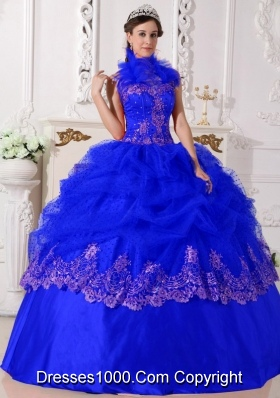 Affordable Royal Blue Halter Beading and Appliques 2014 Quinceanera Dresses