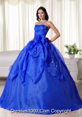 Beautiful Blue Puffy Strapless Appliques Quinceanera Dress for 2014