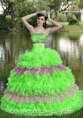Beautiful Strapless Beaded Decorate Bust Tiered Sweet Quinceanera Gowns