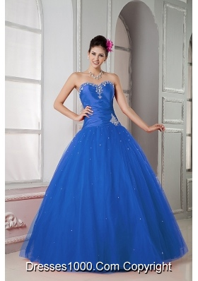Cute Puffy Sweetheart Beading Quinceanea Dress for 2014