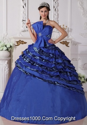 Cute Royal Blue Puffy Strapless Beading Quinceanera Dresses