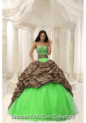 Leopard and Organza Sweetheart Quinceanera Gown With Beading Decorate