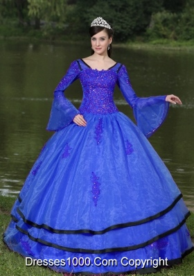Most Popular V-neck Appliques Blue Quinceanera Dress With Long Sleeves