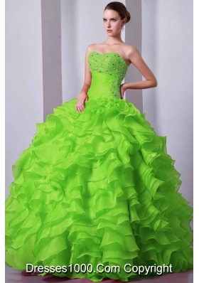 Popular Princess Sweetheart Beading and Ruffles Quinceanea Dresses