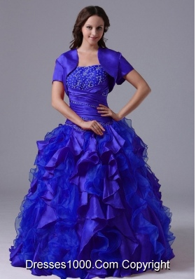 Puffy Blue Beaded Decorate Quinceanera Dresses With Ruching 2014