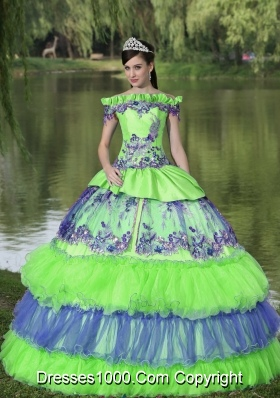 Puffy Off The Shoulder Appliques Quinceanera Dress For 2014