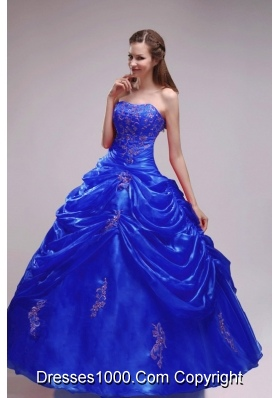 Royal Blue Puffy Strapless 2014 Applqiues Quinceanera Dresses with Pick-ups