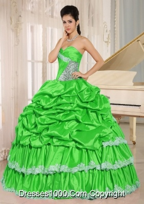 Spring Green Beaded and Appliques Custom Made Quinceanera Dresses