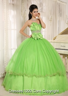 Spring Green Beaded Bowknot Quinceanera Dresses for Custom Made