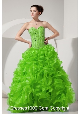 Spring Green Princess Sweetheart Beading and Ruffles 2014 Quinceanera Dresses