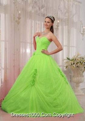 Elegant Princess Sweetheart Quinceneara Dresses with Flowers