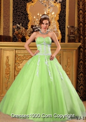 Popular Princess Sweetheart Lime Green Quinceanera Dresses with Appliques