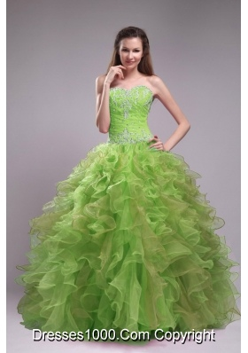 Popular Sweetheart Orangza Quinceanera Dress with Ruffles and Beading