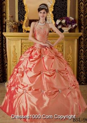 Affordable Halter Tafftea Appliques Quinceanera Gown Dresses