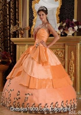 Cheap Orange Sweetheart Taffeta Appliques Quinceanera Gowns