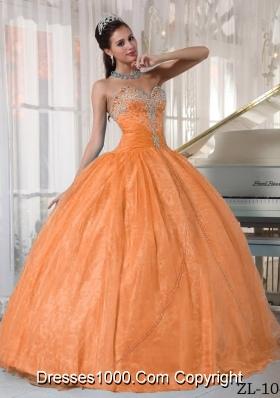 Elegant Orange Sweetheart Organza Appliques Dresses For Quinceaneras