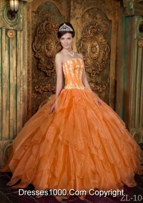 Gorgeous Organza Strapless Appliques Orange Dress For Quinceanera