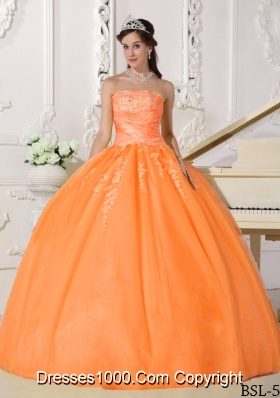 New Style Orange Puffy Strapless Sweet 16 Dresses with Appliques