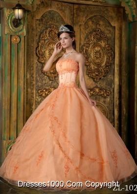 Orange Princess Strapless Appliques Organza Quinceanera Dress