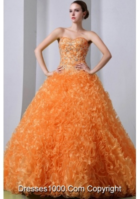 Orange Princess Sweetheart Brush Train Organza Quinceanea Dresses with Beading and Ruffles