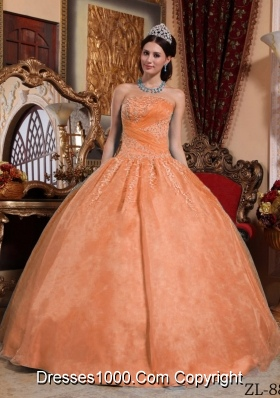 Orange Puffy Strapless Organza Appliques Quinceaneras Dresses