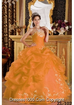 Orange Strapless Embroidery and Pick-ups Organza Quinceanera Gown Dress