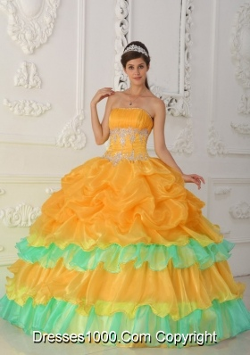Orange Strapless Organza Quincenera Dresses with Ruffles and Beading