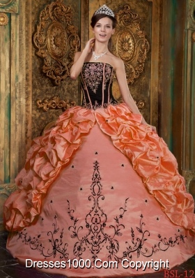 Orange Strapless Taffeta Sweet 15 Dresses with Black Embroidery