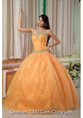 Orange Sweetheart Organza Beading Dresses For a Quinceanera