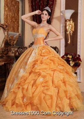 Orange Sweetheart Organza Quinceanera Gown Dresses with Beading and Ruffles