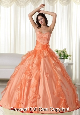 Orange Sweetheart Quinceanera Dresses with Embroidery and Ruffles