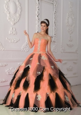 Organza Princess Strapless Orange and Black Quinceanera Dresses with Appliques