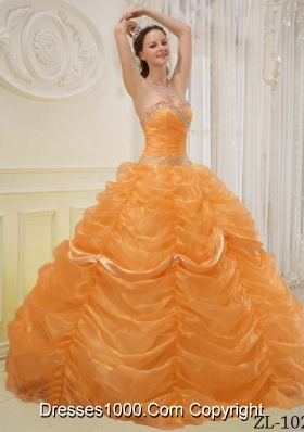 Princess Sweetheart Organza Quinceanera Dresses with Beading and Pick-ups