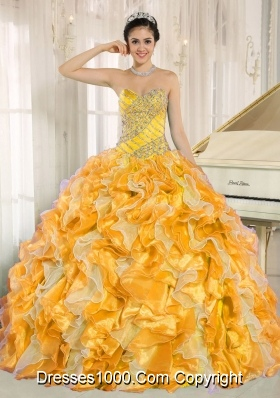 Custom Made For 2014 Yellow and Orange Quinceanera Dress with Beading and Ruffles