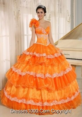 Flowers Decorate One Shoulder Quinceanera Gowns with Layers and Appliques