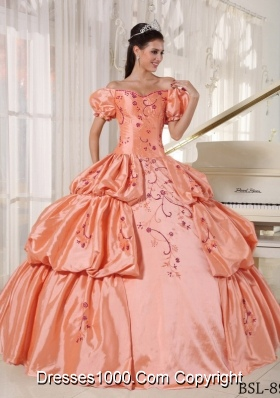 Off The Shoulder Orange Quinceanera Gowns Dresses with Embroidery and Pick-ups