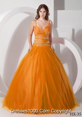 Spaghetti Straps Princess Quinceanera Gowns Dresses with Beading