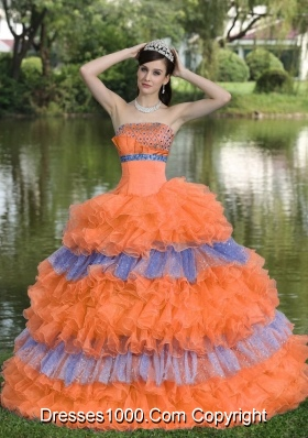 Beaded Decorate Bust Organza Strapless Tiered Quinceneara Dresses