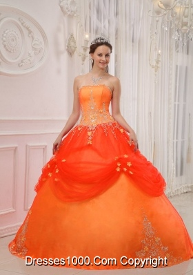 Elegant Orange Red Princess Strapless Quinceanera Dress with Appliques