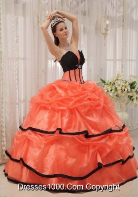 Orange Red and Black Strapless Organza Quinceaneras Dress with Beading and Pick-ups