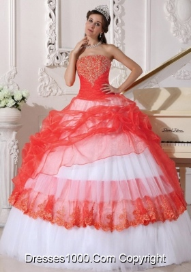 Orange Red and White  Strapless Organza Quinceneara Dresses with Appliques