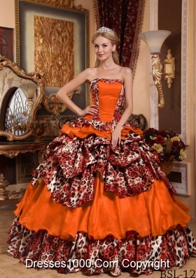 Orange Red Ball Gown Strapless Leopard Pick-ups Dresses For a Quince