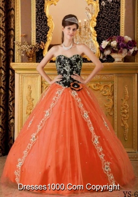 Orange Red Princess Sweetheart Beading Quinceanera Dresses Gowns